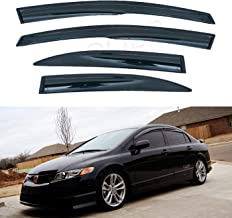 LQQDP Set of 4 JDM 3D Wavy MU Style Front+Rear Smoke Sun/Rain Guard Outside Mount Tape-On Acrylic Window Visors For 06-11 Honda Civic 4-Door Sedan