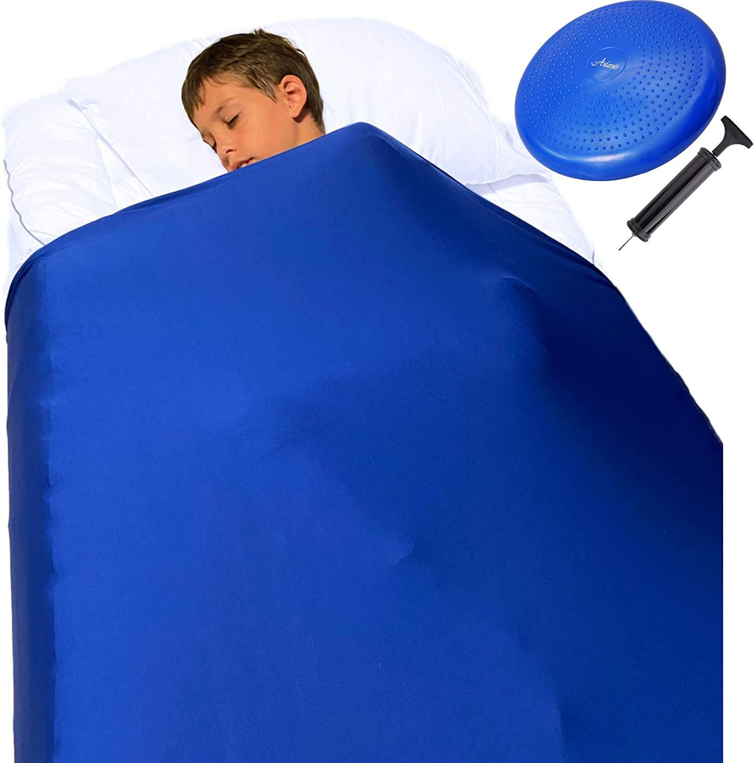 Sensory Compression Blanket for Kids – Plus Wobble Seat Cushion, Breathable Compression Sheet Twin and Wiggle Disc, Sensory Sheets for Focus and Sleep for Autism, Sensory Processing Disorder ADHD Blue
