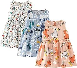 vanberfia 3 Pack Girl Kid Casual Print Cotton Cartoon Dress 2-6T