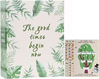 WLC Small Family Photo Album 100 Pockets Bookcase 4x6 inch 100 Pockets Picture Green Leaves Natural Style Tree Family Album