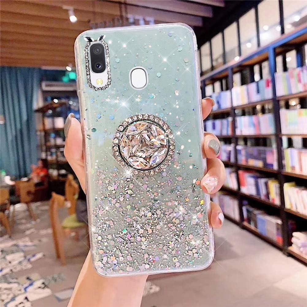 Uposao Coque pour Samsung Galaxy A20e Coque avec T/él/éphone Anneau Bague,Brillante Glitter Paillettes /Étoile Design Motif Transparente Silicone Gel TPU Bumper Case Housse /Étui de Protection,Clair