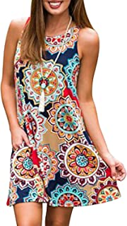 Women Casual T-Shirt Summer Dresses Floral Bohemian Dress Swing Boho Sundress Sleeveless with Pockets
