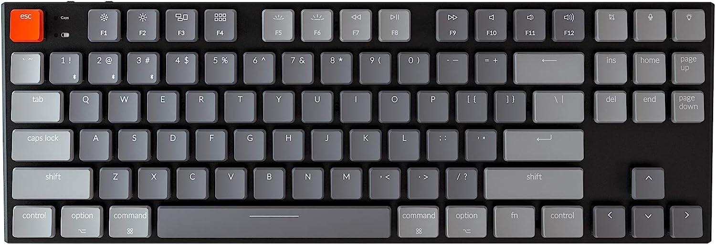 Keychron K1 87 Key Ultra-Thin RGB Wireless Bluetooth/USB Wired TKL Mechanical Gaming Keyboard, RGB LED Backlit Low Profile Red Switches for Mac Windows, N-Key Rollover, Version 4, Black