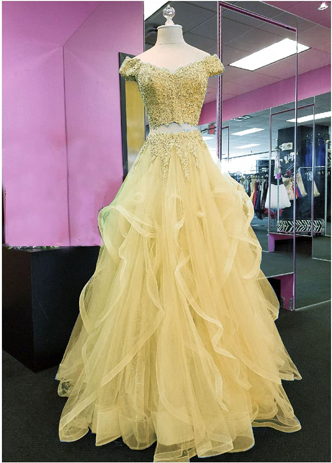 YIRENWANSHA Two Piece Off Shoulder Homecoming Dresses 2018 Tulle Appliqued Womens Party Gown YW29