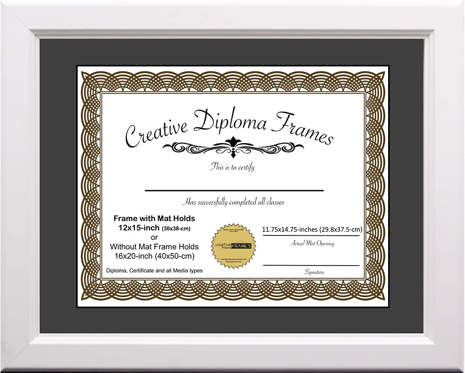 Regular store Creative Picture Rapid rise Frames 12x15 White with Diploma Frame Mat Black