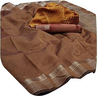 Nagpuri Indian Sari Plain Cotton Silk Ethnic Formal Golden Striped Border saree double 2 Blouse 6307