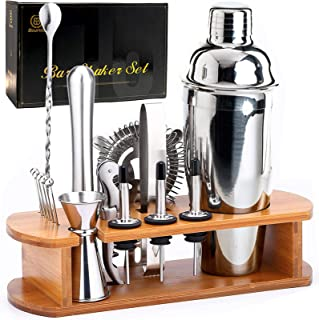 Bournis Cocktail Shaker Set with Stand, 16 Pcs 750mL Stainless Steel Cocktail Bartender Kit with Stand, Bar Shaker Straine...