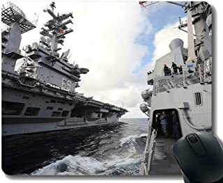 Mouse Pad with Stitched Edge,Aircraft Carrier Military USS Nimitz Mouse Mat,Non-Slip Rubber Base Mousepad