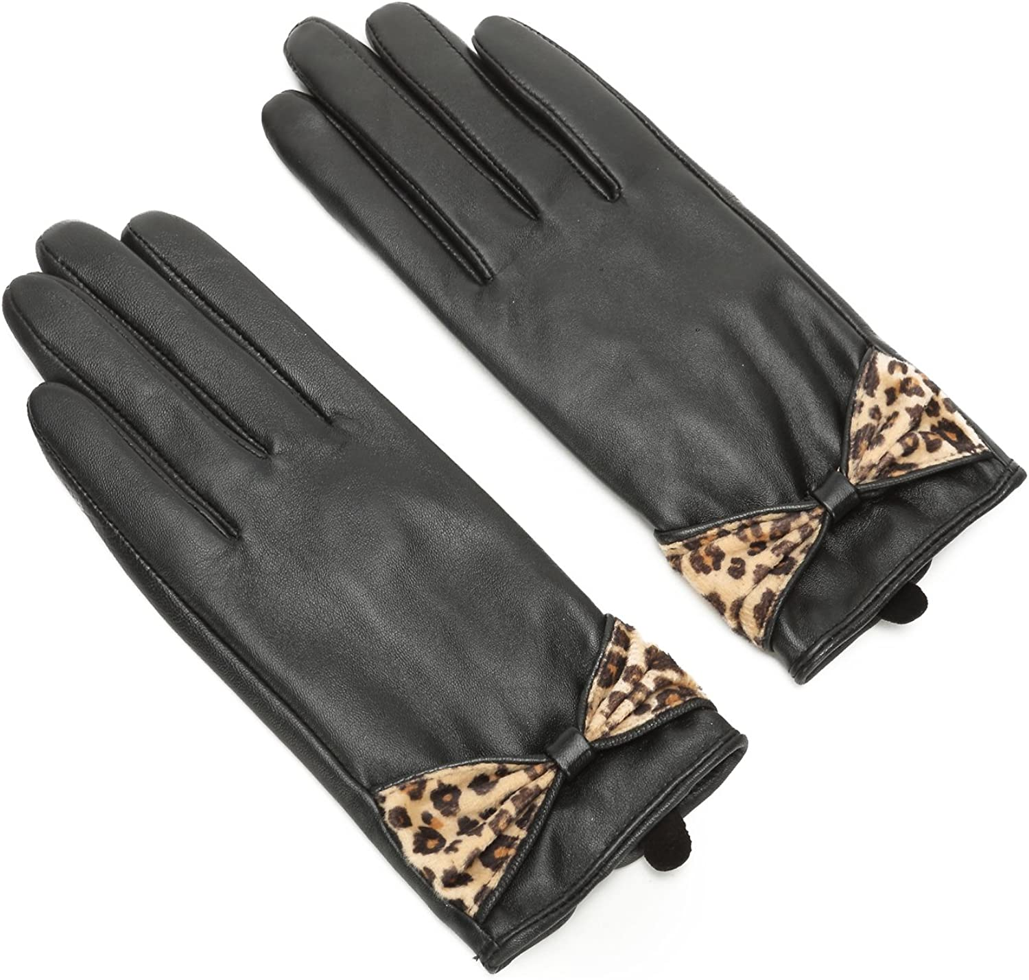 Ambesi Ladies Geniune Leather Winter Gloves with Leopard Bow