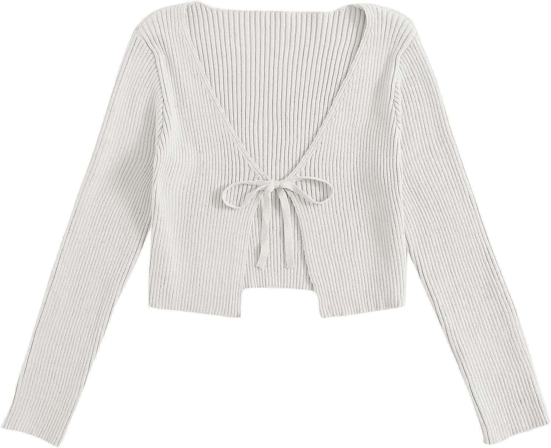 MakeMeChic Women's Rib Knit Tie Front Long Sleeve Crop Cardigan Top