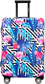 Periea Premium 3mm Elasticated Suitcase Luggage Cover - 38 Different Designs - Small, Medium or Large (Black & White Stripes with Flamingos, Large)
