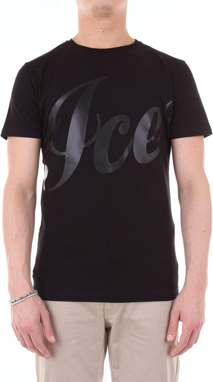 ICE Men's I7M0F101P400BLACK Black Cotton T-Shirt