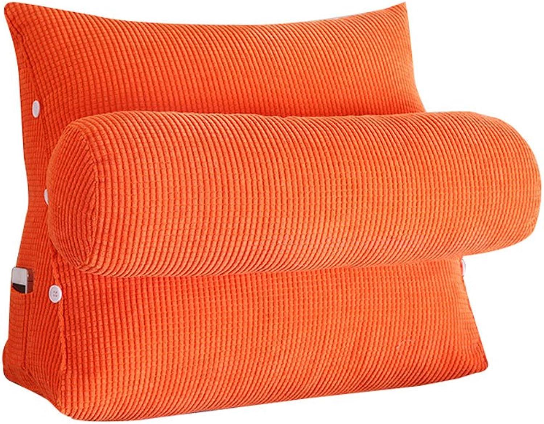 DDSS Bed cushion Triangle Bedside Pillow Sofa Bed Headrest with Headrest Lumbar Pillow Backrest Waist Pads Office Pillow Bay Window Cushion Back orange  -  (Size   45cm22cm40cm)
