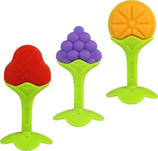 RaZbaby Teething & Massaging Toy Teether: (3-Pack) Fruit Set Chew Toys | Soothes Soar Gums | Food Grade Soft Safe BPA-Free...