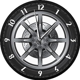 WOERD Horloge Murale en MéTal Conception Unique Et Forme De Pneu De Voiture CréAtive Design Moderne Silencieux sans Tic Ta...