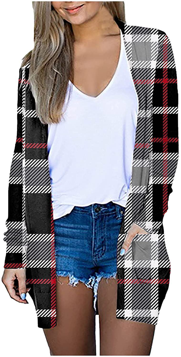 Cardigan for Women Plaid Printed Pockets Lightweight Long Coat Casual Decorative Long Sleeve Outerwear