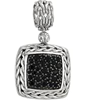 John Hardy - Classic Chain Lava Medium Square Pendant Necklace with Black Sapphire
