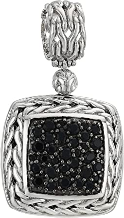 Classic Chain Lava Medium Square Pendant Necklace with Black Sapphire
