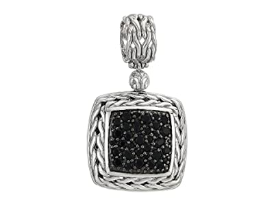 John Hardy Classic Chain Lava Medium Square Pendant Necklace with Black Sapphire (Silver) Necklace