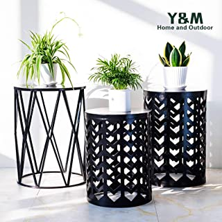 PAO MOTORING Home Garden Accents Wire Round Iron Metal Stool Side End Table Plant Stand,Set of Three (Black)
