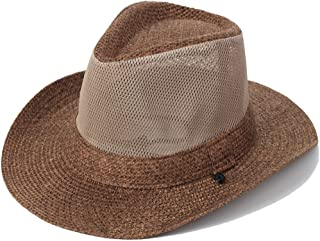 SHYPwM-Hats Sun Hat, Men's Summer Outdoor Travel Mesh Breathable Sun Hat Visor Wide Eaves Beach Hat with Chin Band (Color : Brown, Size : 54-56 cm)