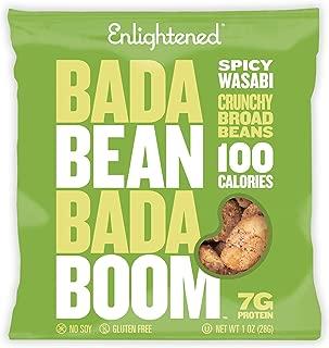 Enlightened Bada Bean Bada Boom Plant-based Protein, Gluten Free, Vegan, Non-GMO, Soy Free, Kosher, Roasted Broad Fava Bean Snacks, Wasabi, 1 Ounce (24 Count)