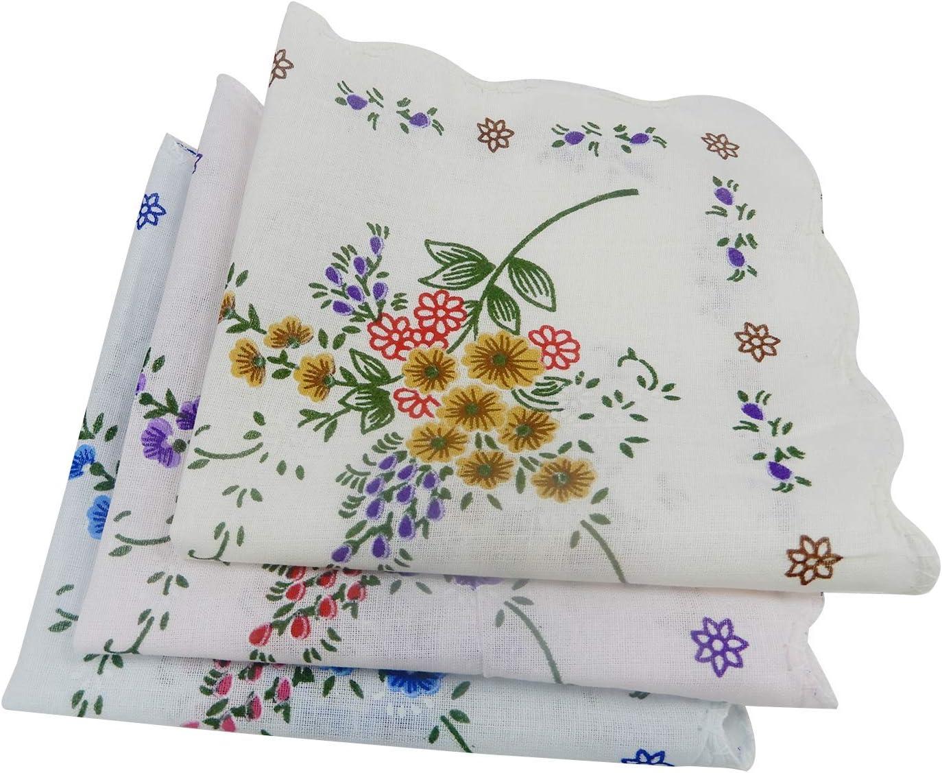 Whopper 12 Pieces Women Soft Cotton Classic Floral Print Cotton Colorful Ladies Handkerchiefs Hankies