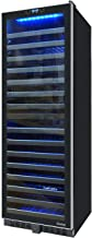 Vinotemp VNTVT-145TSST-2Z 142 Bottle Dual-Zone Wine Cooler with Seamless Glass Door and Stainless Trim