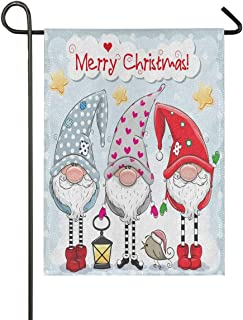 ALAZA ثلاثة جنومات لطيفة عيد الميلاد الخيش حديقة العلم مزدوج الجهتين، أعلام ساحة المنزل، علم ديكور خارجي موسمي 28x40 هدية