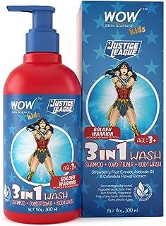 WOW Skin Science Kids 3 in 1 Wash - Shampoo + Conditioner + Body Wash - Golden Warrior Wonder Woman Edition - No Parabens,...