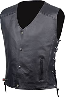 Men's SOA Motorcycle Clothing Biker Leather Vest Club Concealed Carry XL
