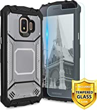 TJS Phone Case for Samsung Galaxy J2 Core/J2 2019/J2 Pure/J2 Dash/J2 Shine, with [Tempered Glass Screen Protector] Aluminum Shockproof Magnetic Support Military Built-in Metal Plate Back Cover (Gray)