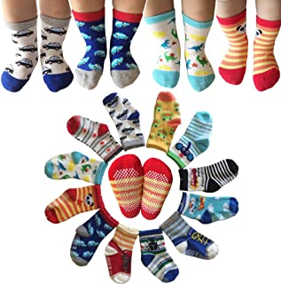 Kakalu Assorted Non-Skid Ankle Cotton Socks with Grip for 12-36 Months Baby, Cartoon 2, 6-Pairs