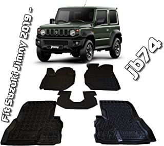 Custom Fit All Weather Floor Liners Carmats Black Rubber Floor Mats 1st & 2nd Row 5 pcs/Set for Suzuki Jimny JB74 2019 2020
