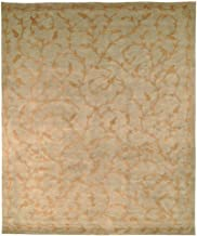 Safavieh Tibetan Collection TB321A Hand-Knotted Green and Gold Silk & Wool Area Rug (8' x 10')