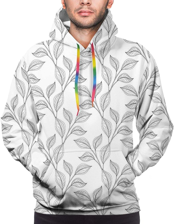 TENJONE Men's Hoodies Sweatshirts,Monochrome Garden Pattern with Stylized Leaves Bohemian Natural Theme