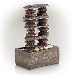 Alpine Corporation TT8002 Alpine Stacked Rocks Eternity, 12 Inch Tall Tabletop Fountain, One Size, Beige