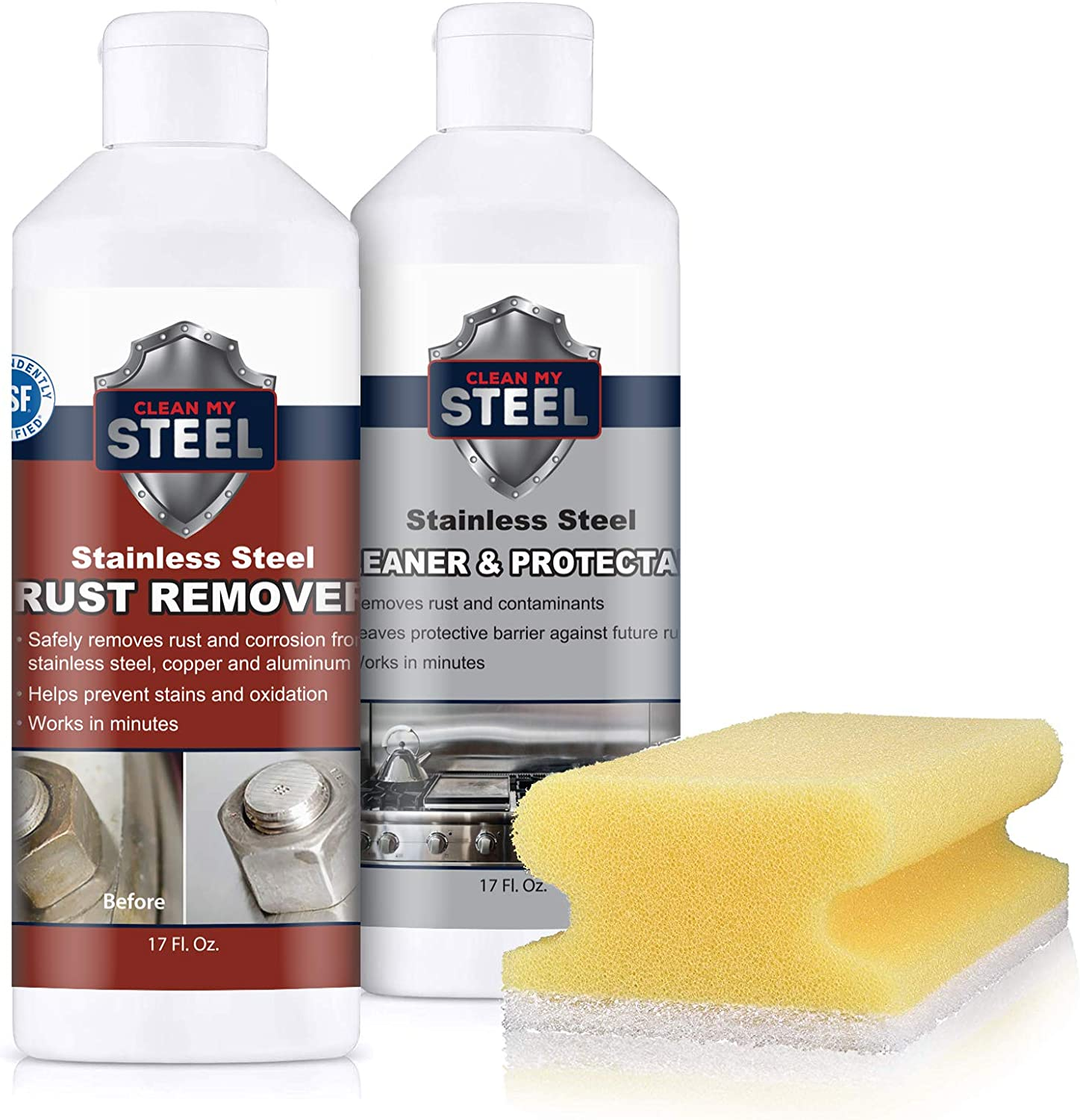 Stainless Steel Rust Cleaner Remover and Kits Charlotte Mall Protector depot w Spong