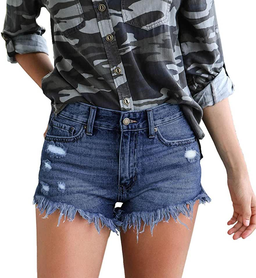 Cheap.Sale Beach Pants for Women - Frog Fun Ladies Mid Rise Short Frayed Raw Hem Ripped Denim Jeans