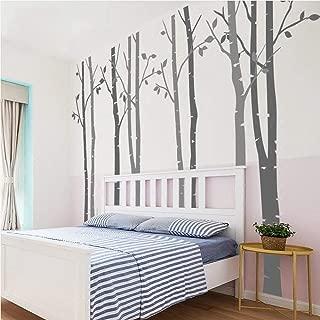N.SunForest 7.8ft Dark Grey and Light Grey Birch Tree Vinyl Wall Decals Nursery Forest Family Tree Wall Stickers Art Decor Murals - Set of 8