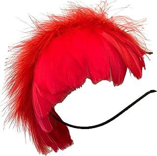 (ADOSSY) 羽根 ヘッドドレス ふわふわカチューシャ 髪飾り アクセサリー ハロウィン パーティ クラブイベント (火の鳥 レッド 赤)