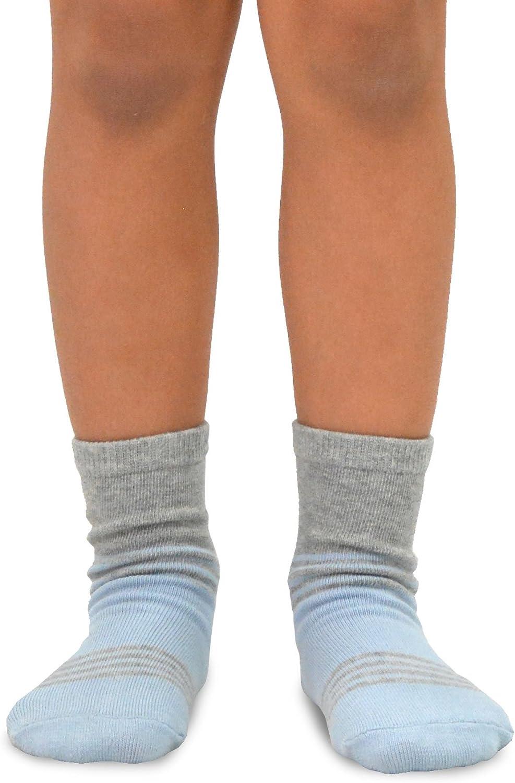 TeeHee Little Boys Basic Cotton Crew Socks 6 Pair Pack (12-18 Months, Stripes Color Block)
