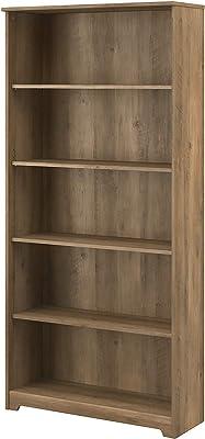 Bush Furniture Cabot Tall 5 Shelf Bookcase, 31W, Reclaimed Pine