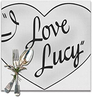 ChongXiFuShi I Love Lucy Washable Placemats for Dining Table Double Fabric Printing Cotton Place Mats for Kitchen Table Set of 6 Table Mat 12