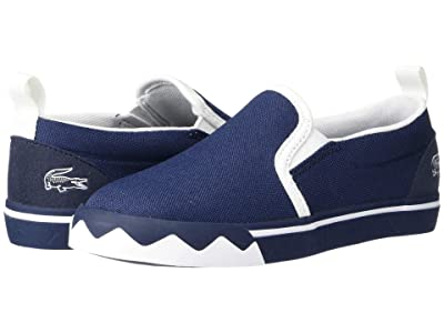 Lacoste Kids Gazon Croco 220 1 (Toddler/Little Kid) (Navy/White) Kid