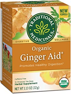 Traditional Medicinals Organic Ginger Aid Digestive Tea, 16 Tea Bags (Pack of 6)