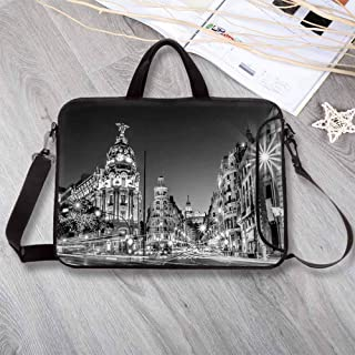 "Black and White Decorations Large Capacity Neoprene Laptop Bag,Madrid City Night Spain Main Street Ancient Architecture Decorative Laptop Bag for 10 Inch to 17 Inch Laptop,14.6""L x 10.6""W x 0.8""H"
