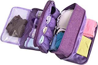 Portable Underwear Bra Storage Bag Waterproof Travel Organizers Multi-Layer Toiletry Packing Cube (Purple style)
