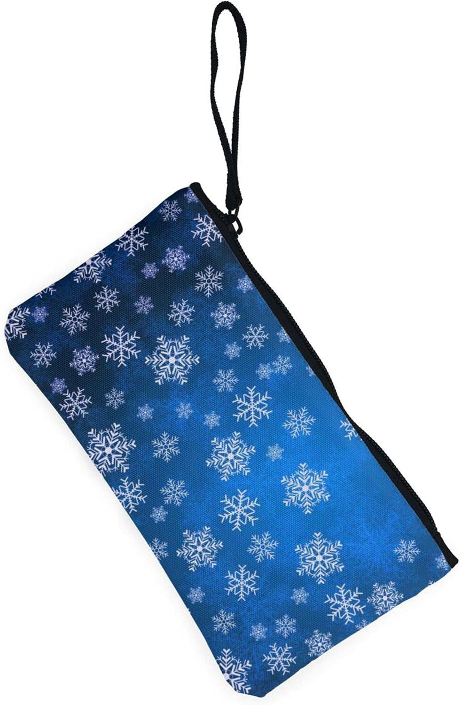 AORRUAM Christmas Snowflakes Canvas Coin Purse,Canvas Zipper Pencil Cases,Canvas Change Purse Pouch Mini Wallet Coin Bag