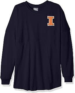 NCAA Illinois Illini Womens NCAA Women's Long Sleeve Mascot Style Teeknights Apparel NCAA Women's Long Sleeve Mascot Style Tee, Sports Navy, Small